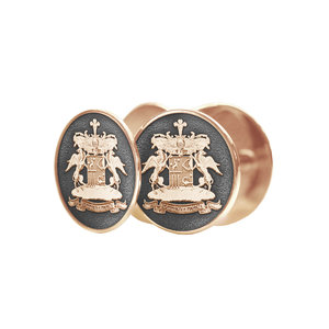 Серебряные с позолотой запонки с фамильным гербом