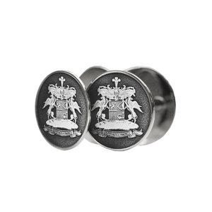 Серебряные  запонки с фамильным гербом